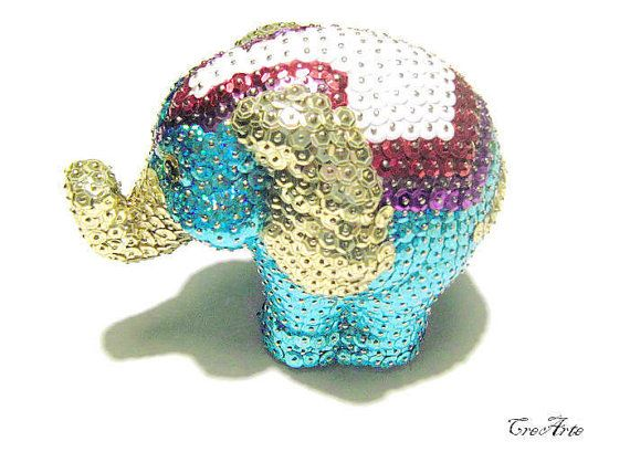 Sequin Ornament Sequined Elepfhant Colorful by CreArtebyPatty