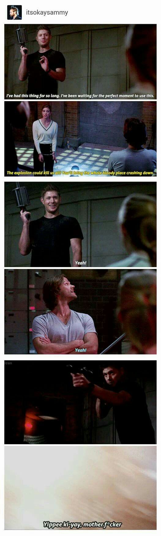 AS PREVIOUSLY MENTIONED THE SEASON 12 FINALE FUCKED ME UP but at least Dean got to use his grenade launcher, I mean he's had it all season...