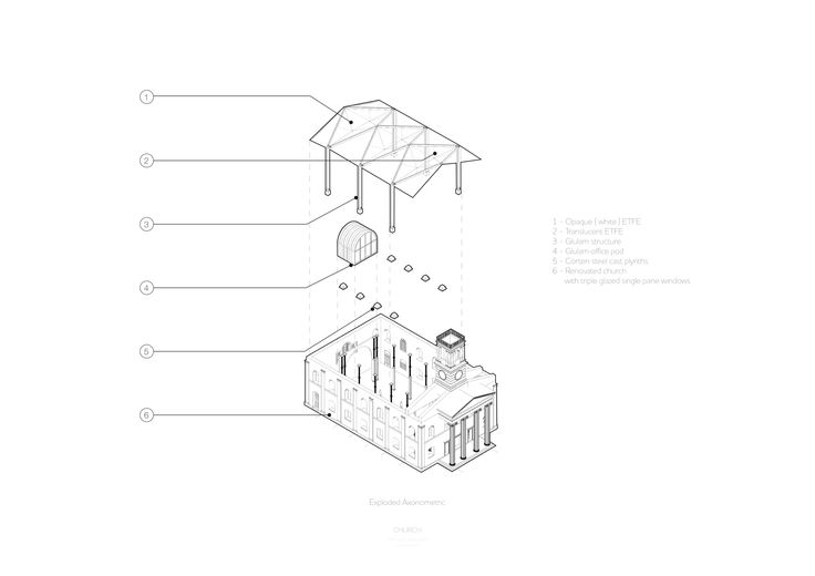 Year 3 — TEMITOPE SHOLANKE exploded axonometric church renovation