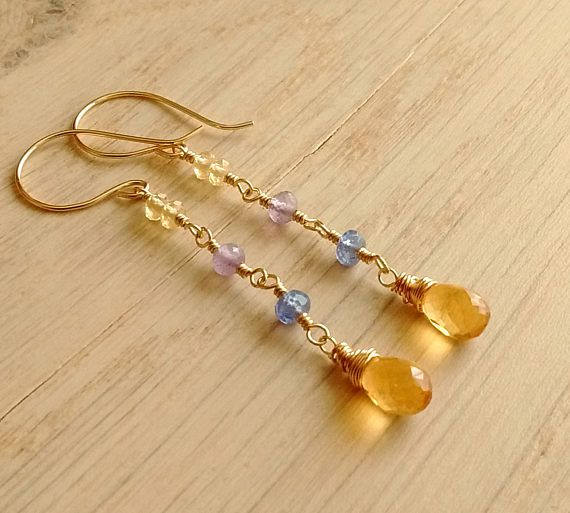 Long Citrine Earrings Gold Filled Tanzanite Amethyst Real
