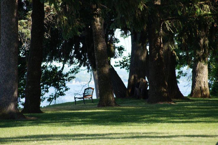 The beautiful lawn leading from Belhurst Castle to Seneca Lake (Geneva, NY)