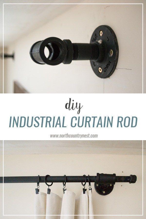DIY Industrial Curtain Rod / industrial decor / diy curtain rod / diy industrial