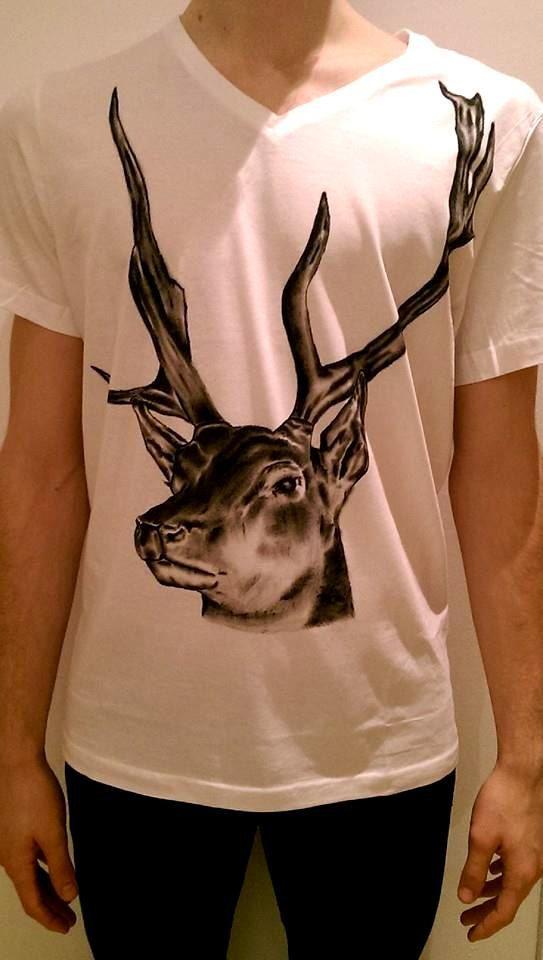 Deer Tshirt Hand painted Tshirt Antlers Tshirt Men's