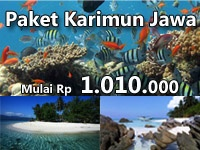 Karimun Jawa Tour Package. Valid until December 2012.  Starting from Rp 1.010.000.  Options of 2H1M, 4H3M, and Diving Package 2H1M.
