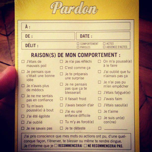 Demande de Pardon. #excuses