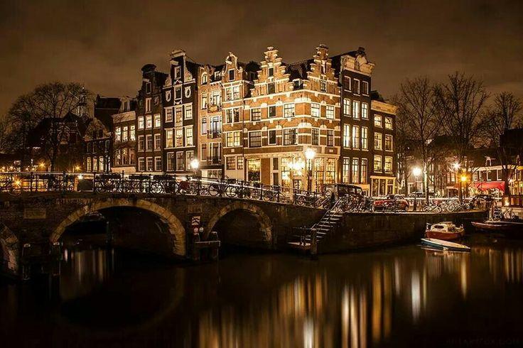 Amsterdam at night by Hillary Fox.