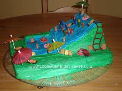 Homemade Waterslide Cake Design: As my daughter, Jolie, has a summer birthday, we always have to plan something around keeping cool.  For her 7th birthday, she wanted to have a large blowup