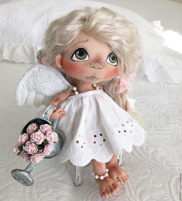 Купить Ангелошенька с Леечкой (авторская работа) - белый, кукла ручной работы, куколка, кукла