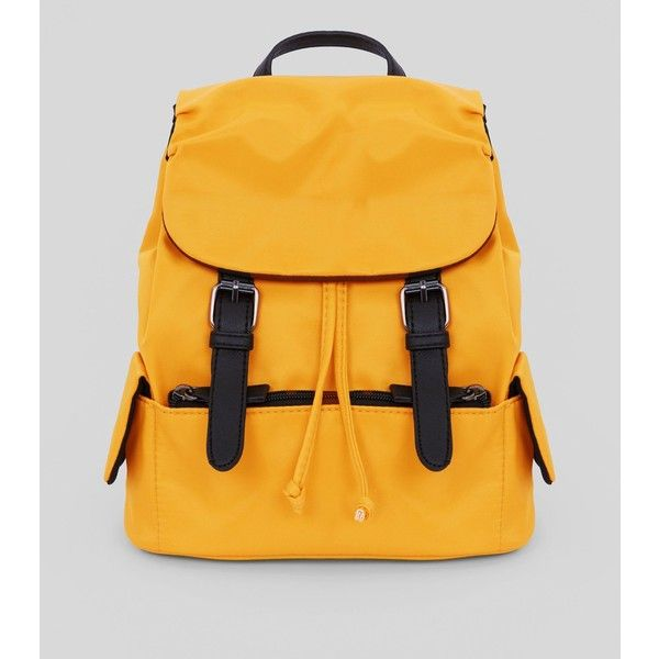 Yellow Double Buckle Mini Backpack ($24) ❤ liked on Polyvore featuring bags, backpacks, corn yellow, yellow backpack, drawstring bag, single strap backpack, draw string bag and one strap backpack