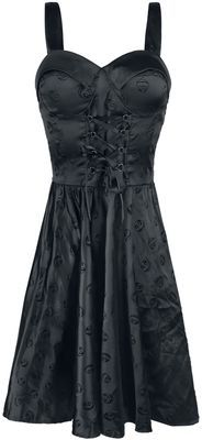 """-Lacing on the front - Straps with three different adjustable lengths (with buttons) - Zip on left side - Elasticated back - Preformed padded bra - Embroidered with Jack skulls You´ll look dark and elegant in this mid-length """"Gothic Velvet"""" dress. This """"The Nightmare Before Christmas"""" dress is embroidered with Jack Skellington motifs. The front is decorated with lacing that sits below a preformed padded bra. The straps that can be adjusted to three different lengths using buttons and the…"""