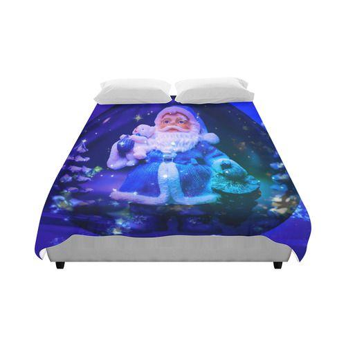 """Blue Santa Claus Duvet Cover 86""""x70"""" ( All-over-print)"""