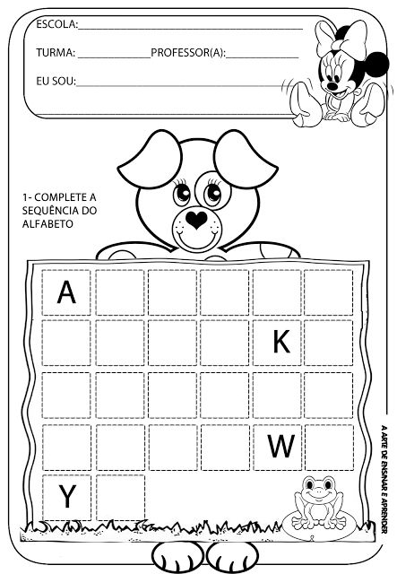 A Arte de Ensinar e Aprender: Atividades prontas - sequência do alfabeto