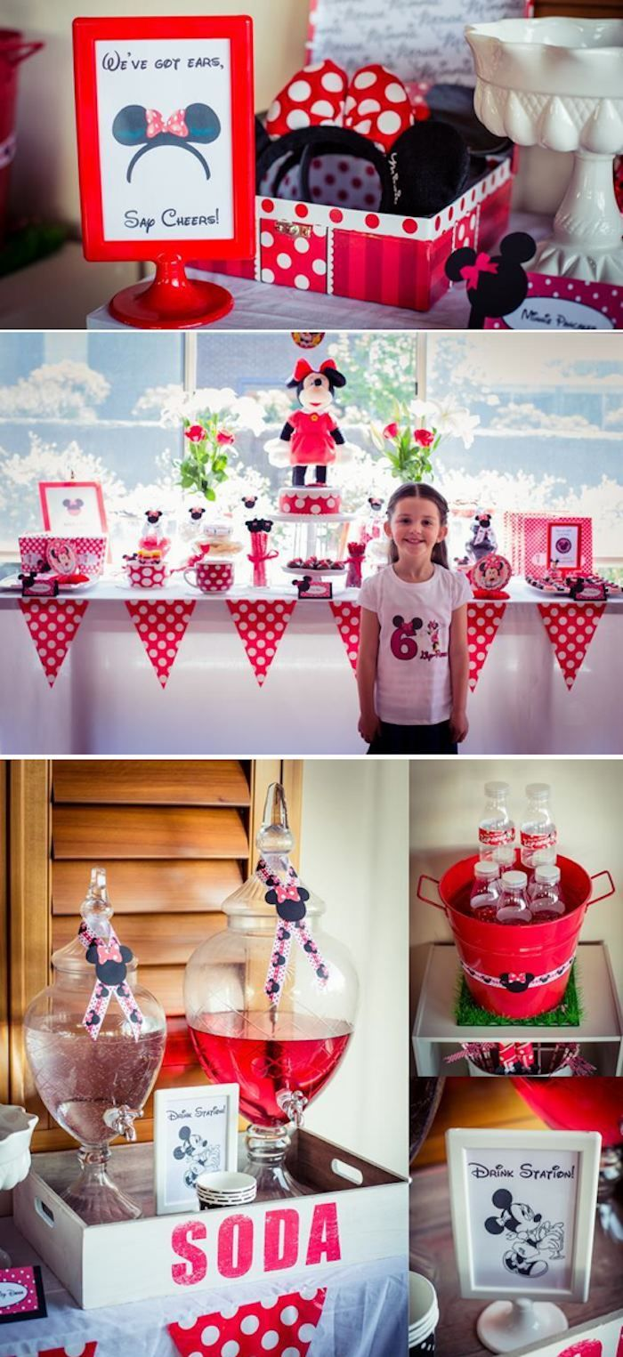 Minnie Mouse 6th Birthday Party full of cute and easy ideas for decor, desserts, cake, favors and more! Via Kara's Party Ideas KarasPartyIdeas.com