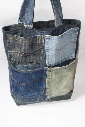 Denim bag, tote denim bag, denim bag, denim bag present, shoulder denim bag, jeans bag, blue denim bag – 창숙 김