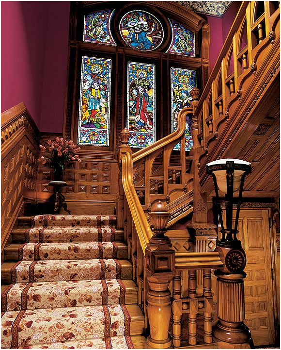 These stain glasses are in the main staircase of the Carson Mansion in  Eureka, California. It is the most famous Victorian home in the US. On the north wall of the main staircase is a grouping of four large stained glass windows. Each window represents one of the four ancient arts—painting, drama, music, and general science.