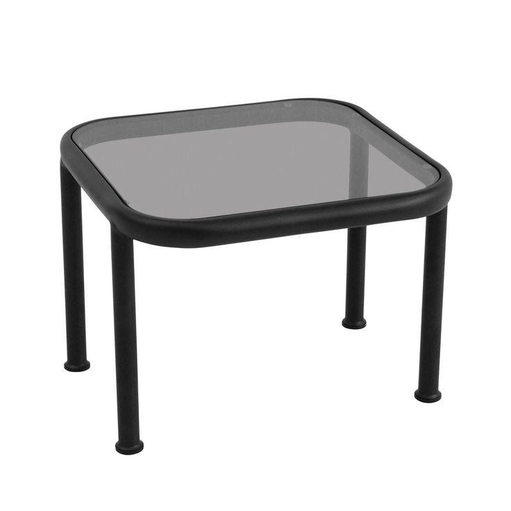 Dock Tisch Quadratisch Von Emu In Schwarz Mit Glas Rauchgrau