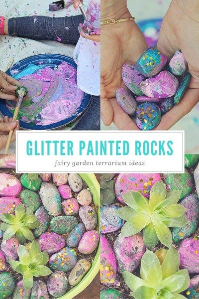Take rocks from the garden and paint them with acrylic paint and glitter. Place on top of indoor terrarium or planters for a cute fairy garden.