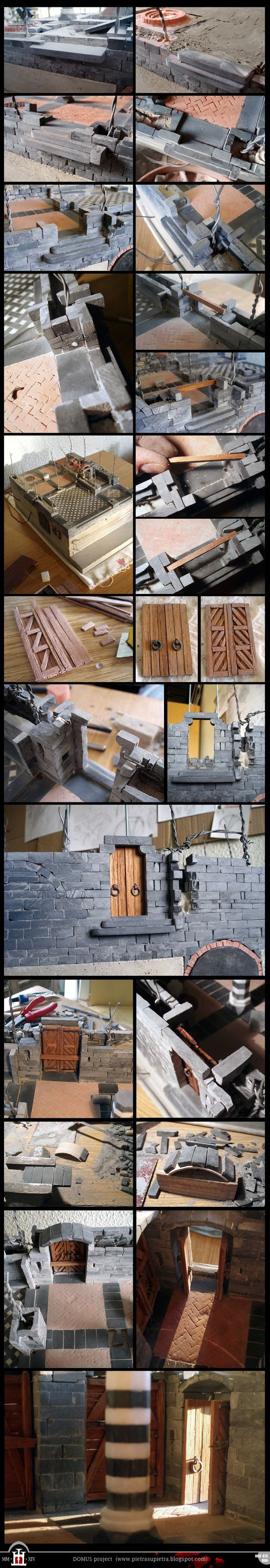 Domus project 69-75-86 - Door of the courtyard  The Domus project is the construction in scale 1:50 of an imaginary medieval palace. It's made of clay, stones, slate, wood and other construction materials in the style of rich genoese buildings from the middle of XIV century.