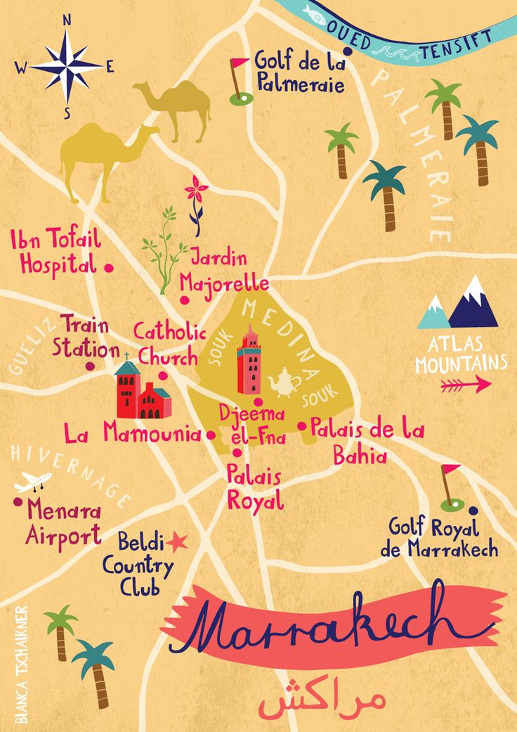 Map of Marrakech, Morocco, by Bianca Tschaikner                                                                                                                                                      More