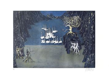 Original signed etchings by Bo Lars - the Lake of the Swans