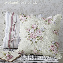Pale Pink Rose Quilted Cushion Cover-50cm www.livelaughlove.co.uk