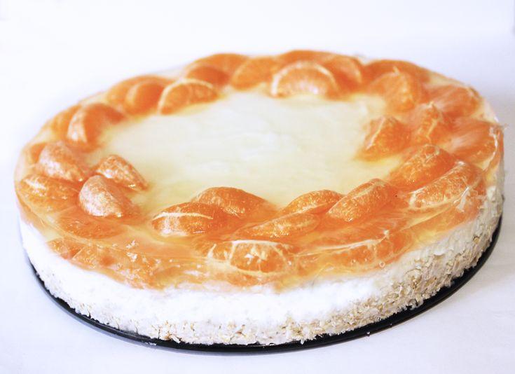 Cheesecake cu Mandarine (fara zahar, fara gluten, continut scazut de grasimi) |