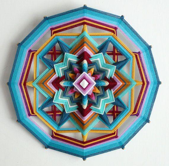 £80 Ojo de Dios yarn mandala Butterfly Sky 18 inch in by JaysMandalas