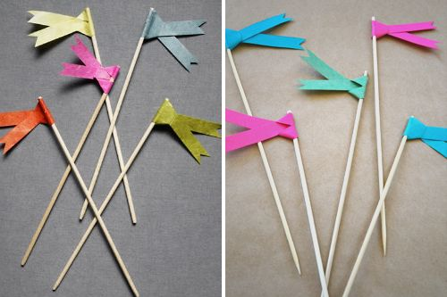 these make great plant markersPaper Ribbons, Paper Flags, Cupcakes Flags, Diy Crafts, Pinwheels, Food Labels, Parties Ideas, Flags Tutorials, Diy Paper