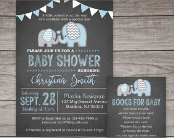 Azul elefantes bebé ducha invitación  DIY para por LOlsonDesigns