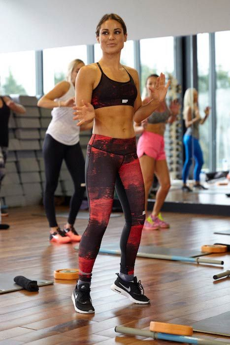 Louise Thompson exercising in a fitness class...