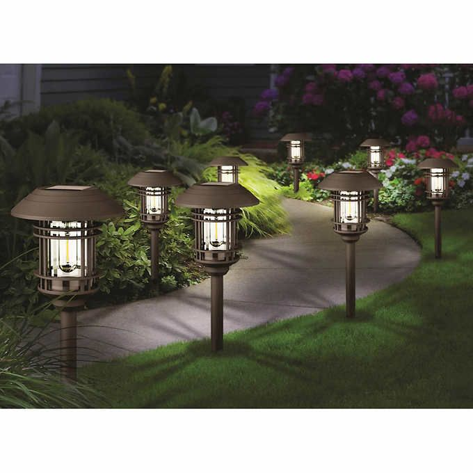 Naturally Solar Large Pathway Lights 8 Pack Costco 39 99 Online Solar Pathway Lights Solar Path Lights Outdoor Solar Lights