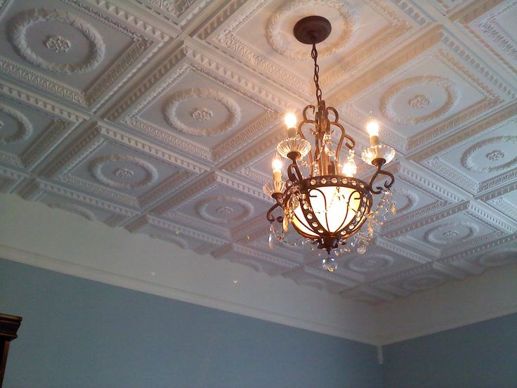 White Matte Faux Tin Ceiling tiles.