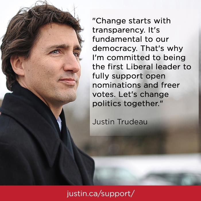 Canadians deserve a more transparent and open democracy. Let's change politics by supporting @Justin Trudeau, #Cdnpoli #LPCldr