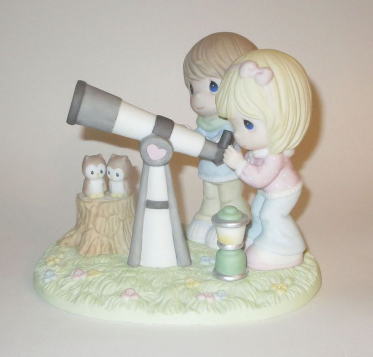Our Love Is Written In The Stars Precious Moments Telescope Couple Owls Lantern  #PreciousMoments