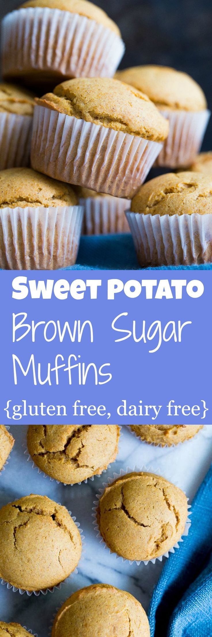 These Sweet Potato and Brown Sugar Muffins the perfect balance of sweet and savory!  They're perfect for breakfast or dessert!  Gluten free and dairy free.