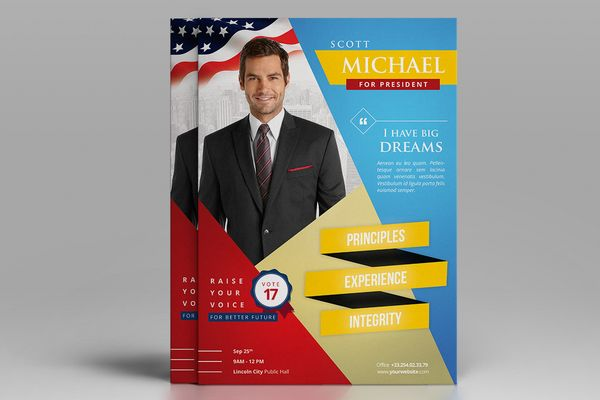 Election Campaign Political Flyer Template – Election Brochure