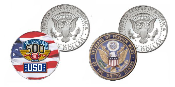 Custom logo coins. Coins are true collectibles.  Turn an ordinary 50 cent pieces in to meaningful, collectible, keepsakes. Create continuity programs or use the coins to recognize achievements and milestones. Of course they are Made in America.