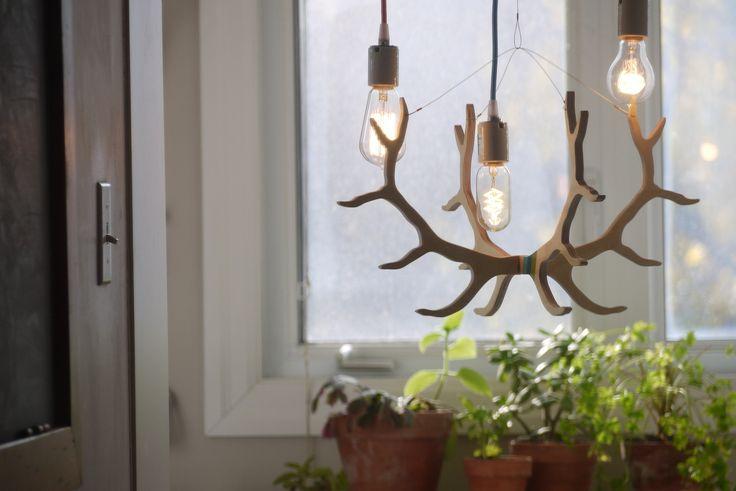 Elk antler light fixture with vintage bulbs and colour cords. longwkd.com