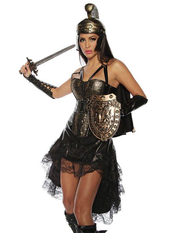 Heisse Gladiatorin Damenkostüm gold-schwarz. Aus der Kategorie Karnevalskostüme / Antike Kostüme. Mit diesem Karnevalskostüm wird selbst die schüchternste Dame noch zur furchtlosen Gladiatorin, welche die Männer nicht nur im römischen Kolloseum entwaffnet! #Kriegerin #Faschingskostüm #Römerin