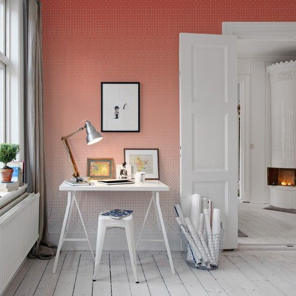 Pink Polka Dot Wall Paper In A Little Home Office.