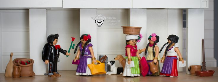 An afternoon in front of a Mexican market. Playmobil custom