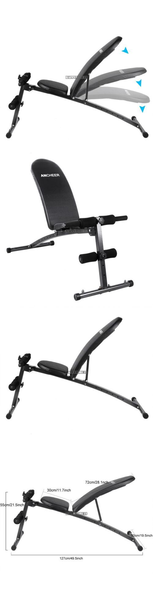 Benches 15281: 4 Adjustable Weight Bench Dumbbells Lifting Incline Flat Decline Press Fitness BUY IT NOW ONLY: $48.99