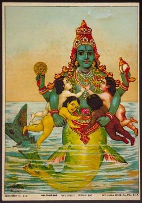 Viṣṇu as Matsya Avatar, Raja Ravi Varma, 19th c. Oleolithograph