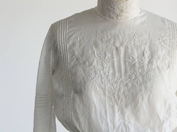524a5285482f7 vintage 1900s victorian embroidered blouse   antique edwardian sheer high  neck white ivory cotton lace floral   1800s 1910s xs s extra small