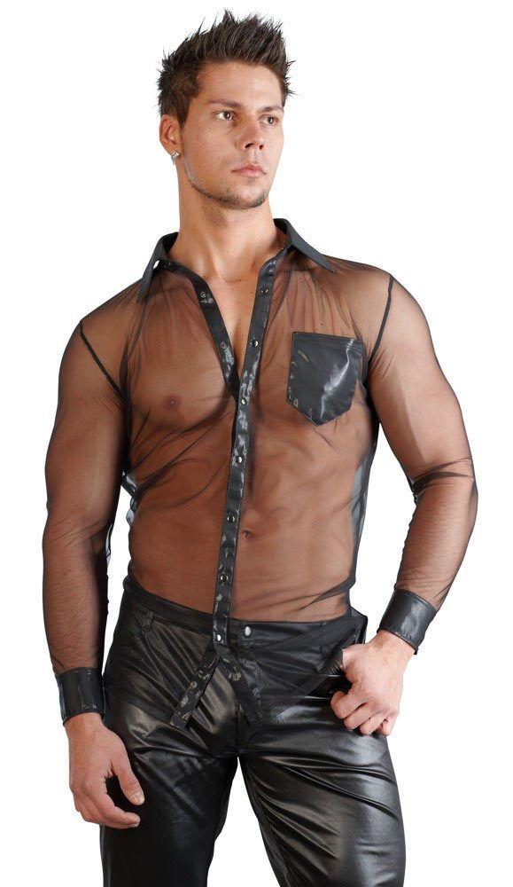 Herren Hemd transparent Tasche schwarz Langarm V Ausschnitt Shirt S M L XL…