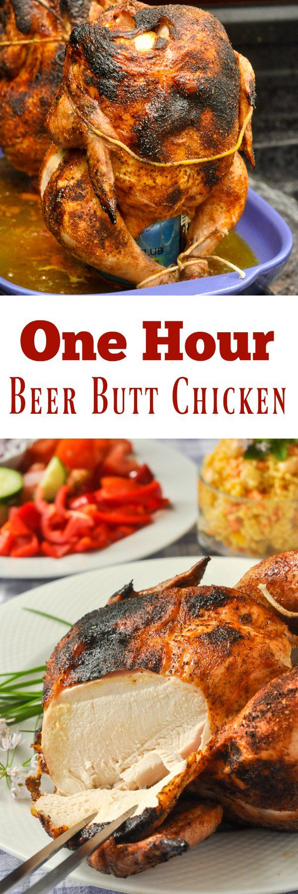 One Hour Beer Butt Chicken - it only takes an hour at high heat to infuse flavour into the dry rubbed chicken, while giving it a little tasty char on the skin and yielding a juicy, succulent result.
