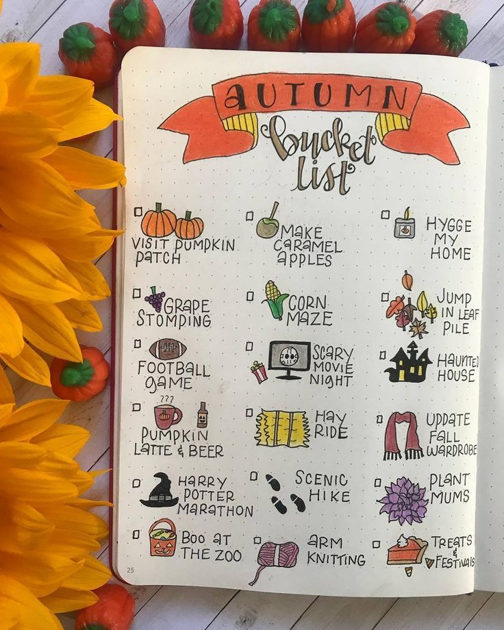 30+ Beautiful Autumn Inspired Bullet Journal Spread Ideas