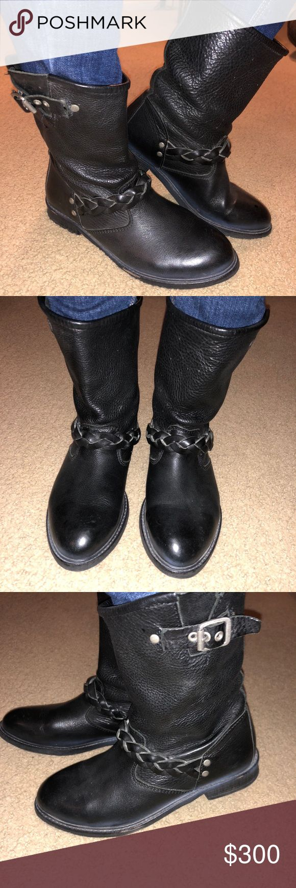 Hudson London Real Leather Mid Calf Boots Authentic, Real Black Leather.  Extremely great condition, worn twice.  Willing to Bargain— shipped straight from London and were $500. Euro size 37– fits like a US size 6.5/7 No longer on the website but a classic and timeless boot that goes with everything!! Hudson Jeans Shoes Combat & Moto Boots