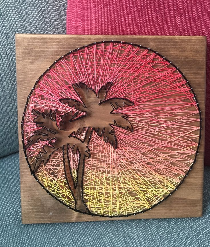 Sunset string art • palm tree string art • ombré sunset • custom made by brittasdreamdesigns with hand dyed string