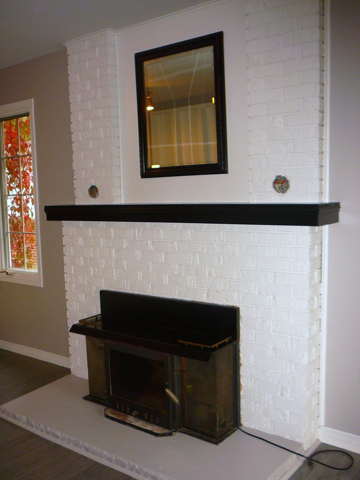 white painted brick fireplace home tastic pinterest paint brick fireplaces brick. Black Bedroom Furniture Sets. Home Design Ideas